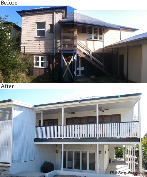 Brisbane renovation builder rear before after
